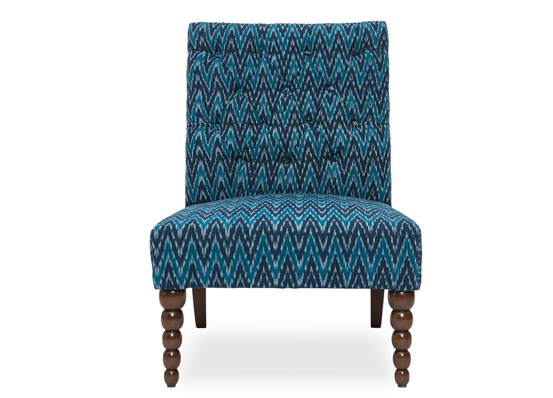 Dalhousie Slipper Chair Blue Muscat Ikat