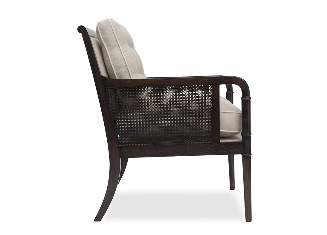 Gymkhana Armchair Weathered Black Herringbone Oatmeal
