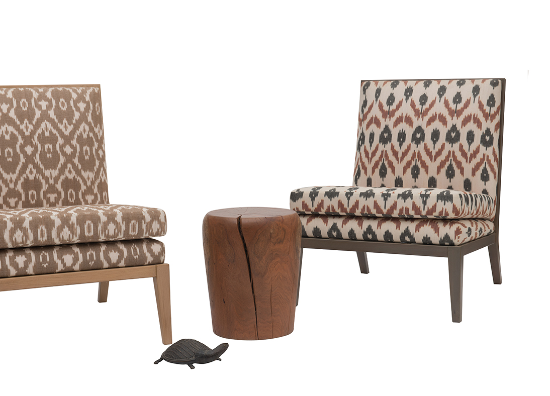 Madeleine Slipper Chair Chittoor Ikat Dark Ash