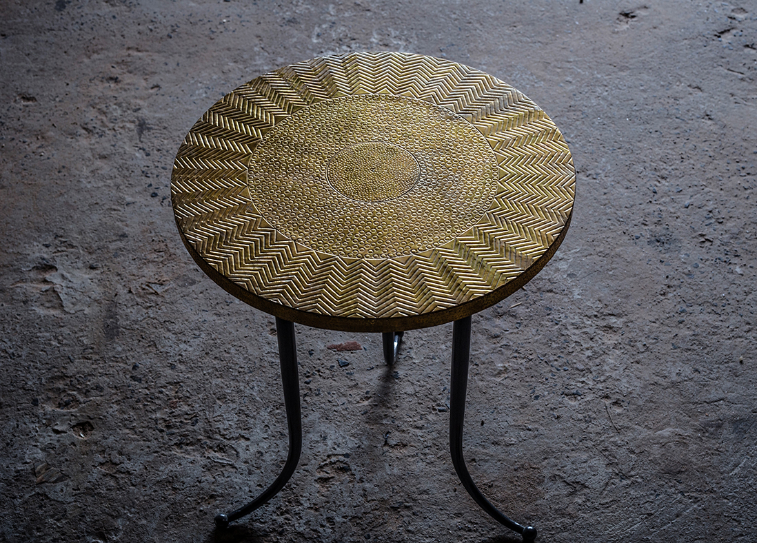 Calico Side Table - Brass