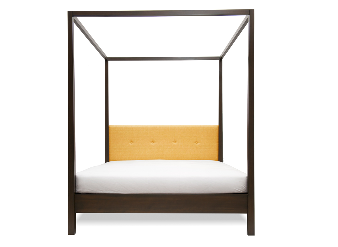 Mandarin King Bed, Cotton Linen Gold, Graphite
