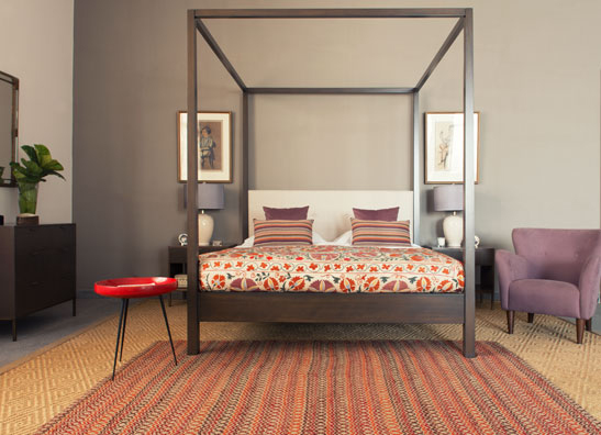 Mandarin King Bed, Herringbone Oatmeal, Graphite